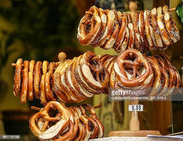 Pretzels displayed on market stall, Alsace, France