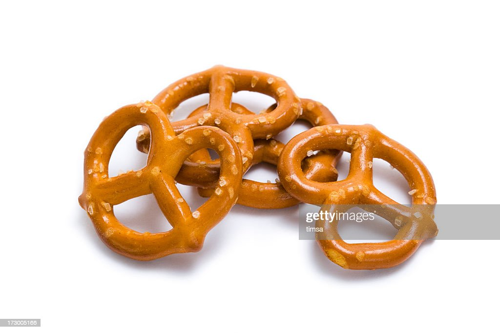 Pretzels in a pile isolated on white