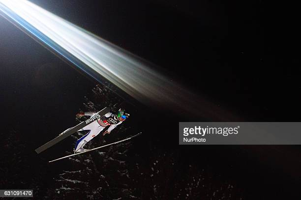 Prevc Domen of Slovenia soars through the air during his first competition jump on Day 2 on January 6 2017 in Bischofshofen Austria