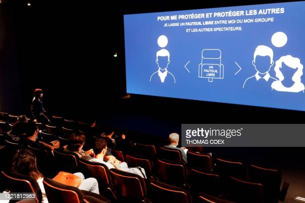 Prevention measures are displayed prior to a screening in a film theatre on June 22 2020 in Paris following the reopening of French theatres as...