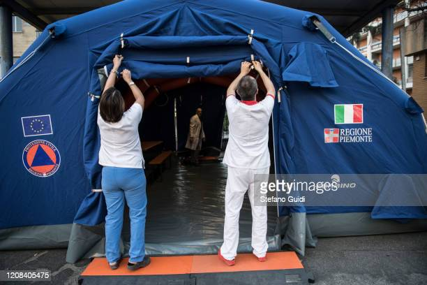 Prevention tents for coronavirus in front of the Martini hospital in Turin Northern Italy Locks Down To Try Prevent The Spread Of Coronavirus on...