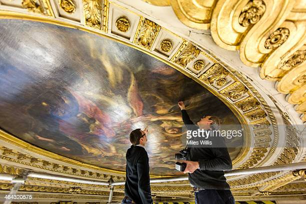 Preventive conservation co-ordinator at Historic Royal Palaces Jonathan Bridal and Stephen Paine of conservation experts Paine & Stuart inspect the...