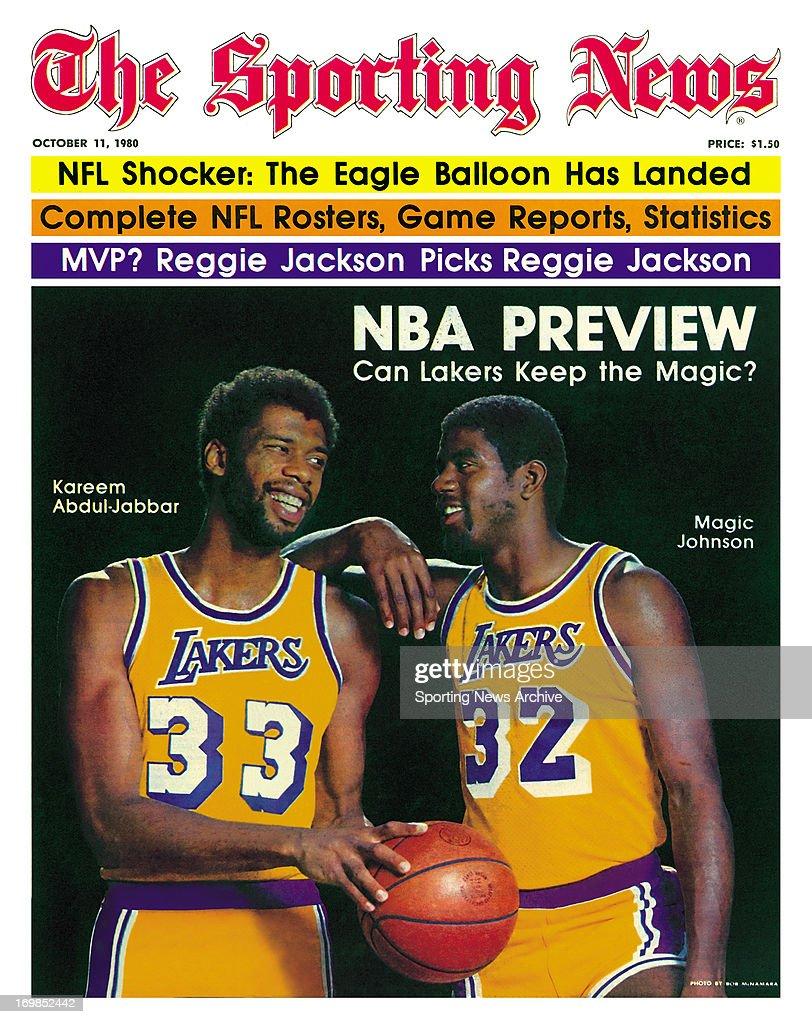 NBA Covers - Los Angeles Lakers Magic Johnson and Kareem Abdul-Jabbar - October 11, 1980 : ニュース写真