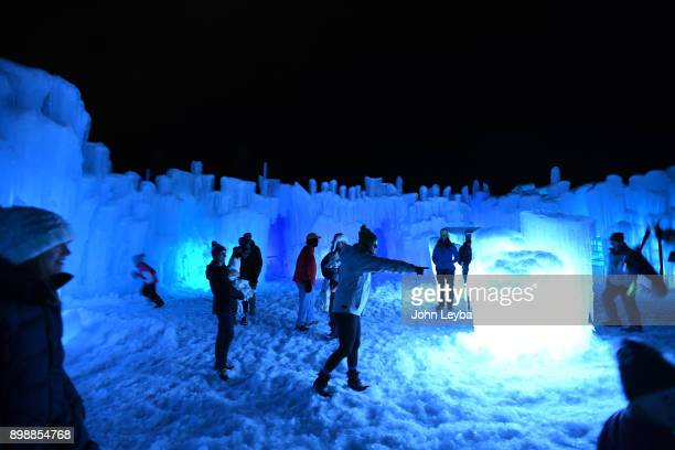 A preview of the Ice Castle at Dillon Town Park on December 26 2017 in Dillon Colorado before its officially opened later in the week Visitors wonder...