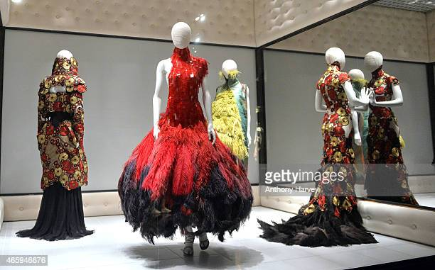 Preview photocall for the Alexander McQueen Savage Beauty exhibition at the Victoria Albert Museum on March 12 2015 in London England