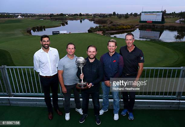 Previous champions Alvaro Quiros Steve Webster Andy Sullivan Tom Lewis and Richard Green pose with the trophy over looking the 18th green at Oceanico...