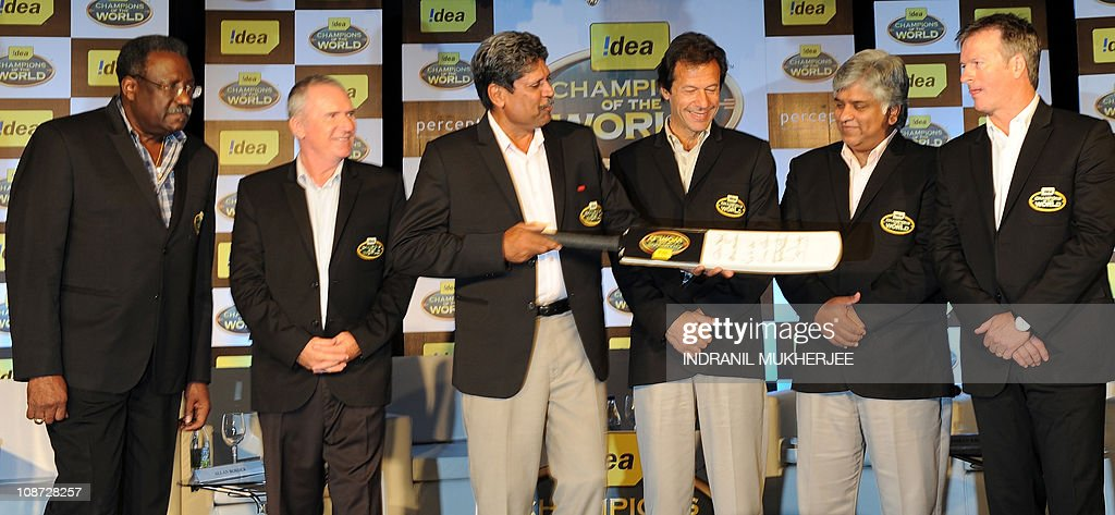 Previous cricket World Cup winning captains (L-R) Clive Lloyd, Allan Border, Kapil Dev, Imran Khan, Arjuna Ranatunga and Steve Waugh attend a promotional function of a telecom company in Mumbai on February 2, 2011. Six of the seven cricket World Cup winning captains including Clive Lloyd, Kapil Dev, Allan Border, Imran Khan, Arjuna Ranatunga and Steve Waugh gathered for the promotional event 'Let's keep Cricket Clean' and showed their support for the participating teams in the upcoming 2011 Cricket World Cup. AFP PHOTO/ Indranil MUKHERJEE