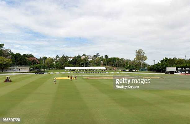 Previous days of wet weather has caused the field to be wet and has delayed play during day one of the Sheffield Shield final match between...