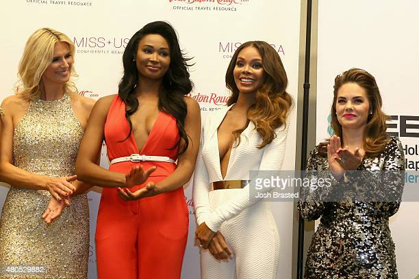 Previous Miss USA and Miss Universe titleholders Rima Fakih Leila Umenyiora Michelle McLeanBailey Nana Meriwether Crystle Stewart and Kimberly...