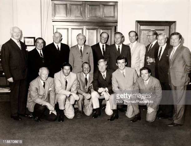 Previous Open Golf Championship winners playing in The Open at St Andrews, circa July 1970 pose at a dinner in their honour. Left to right, back row:...