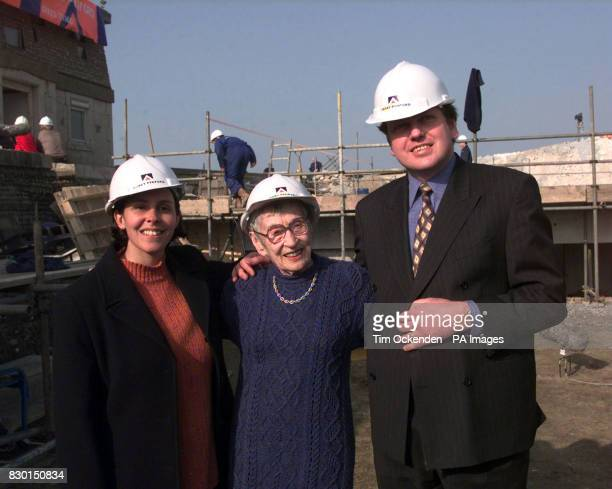 Previous owner of the Belle Tout lighthouse at Beachy Head in East Sussex 93yearold Joy Cullinan flanked by new owners Mark and Louise Roberts at the...