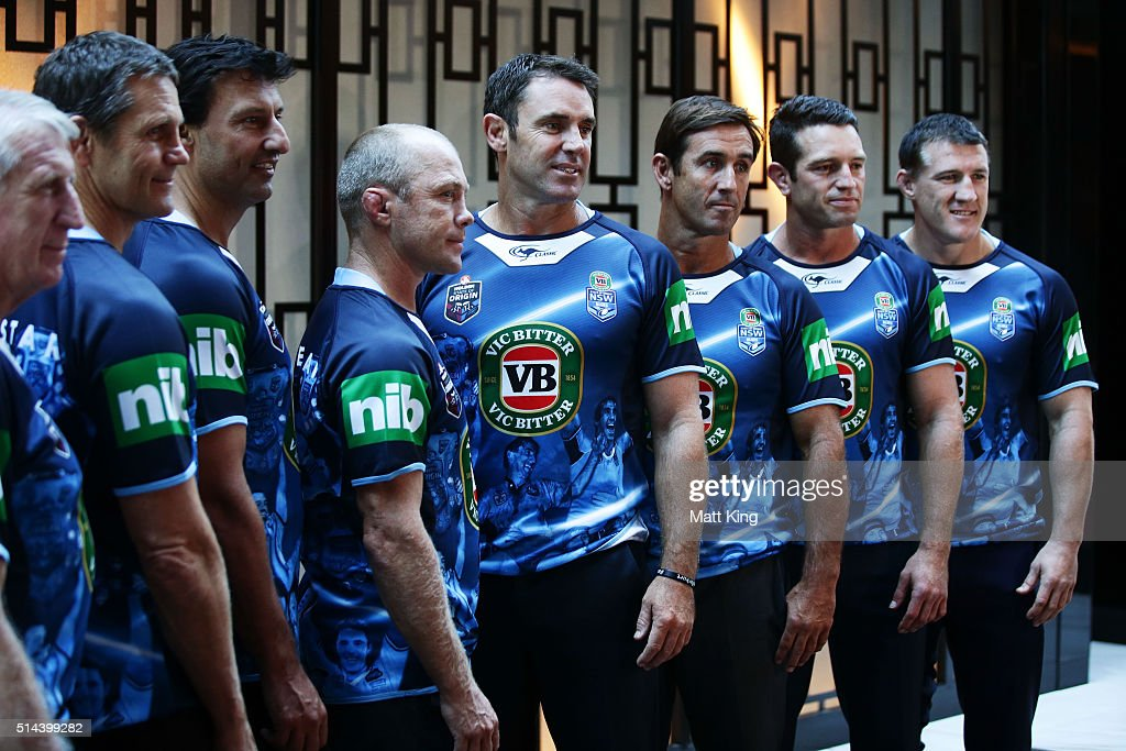 Previous winning New South Wales State of Origin captains (L-R) Steve Mortimer, Wayne Pearce, Laurie Daley, Geoff Toovey, Brad Fittler, Danny Buderus, Andrew Johns and Paul Gallen line up during a jersey presentation to the winning New South Wales State of Origin captains at The Star on March 9, 2016 in Sydney, Australia.