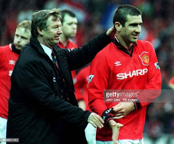 Previously unissued filer of Manchester United manager Alex ferguson congratulating his inspirational French captain Eric Cantona after their vital...