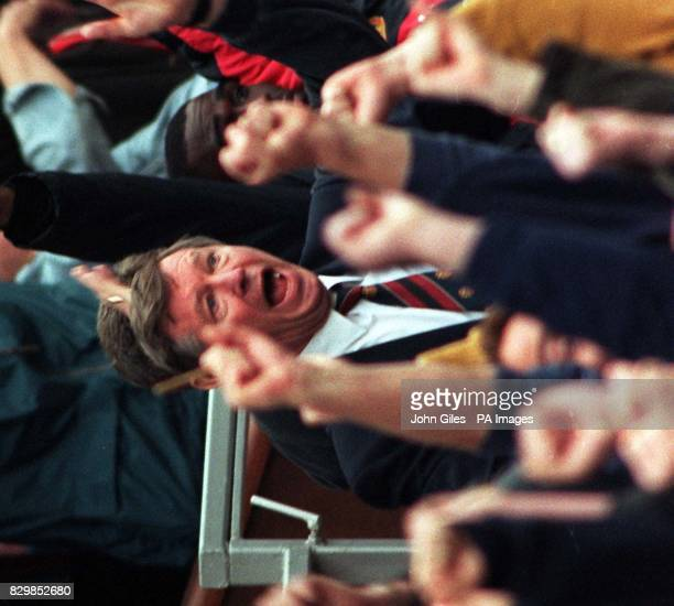 Previously unissued filer of Manchester United manager Alex Ferguson cheering on his side during their emphatic and vital victory over Nottingham...