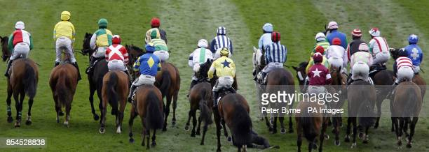 Previously unissued image of a false start ahead of the Crabbie's Grand National Race at Aintree Racecourse Liverpool PRESS ASSOCIATION Photo Picture...