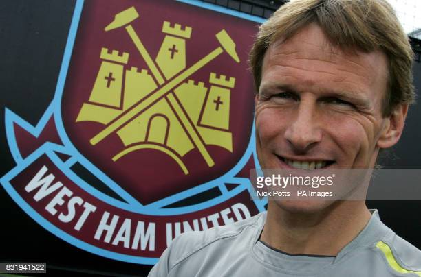 of West Ham United's Teddy Sheringham during a photocall at the Chadwell Heath Training Ground London