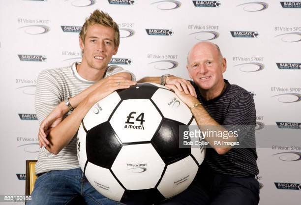 Previously unissued photo dated of Liverpool and England striker Peter Crouch and former Scotland international Archie Gemmill launching BT Vision...