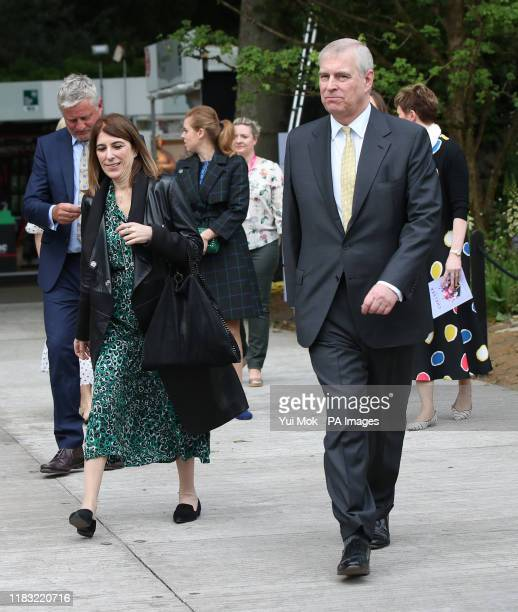 Previously unissued photo dated 20/05/19 of the Duke of York and his private secretary Amanda Thirsk at the RHS Chelsea Flower Show at the Royal...