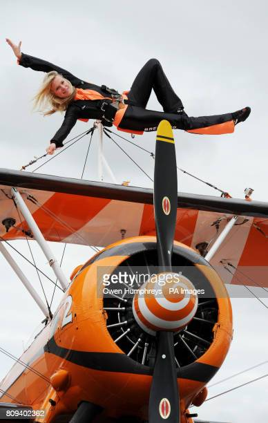Previously unissued photograph taken 22/07/11 of Charlotte Voce 21 from Cheltenham who practices her wingwalking strapped to a biplane in Newcastle