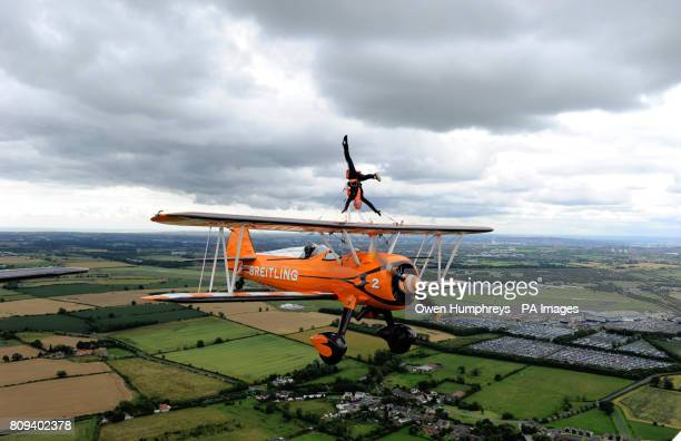 Previously unissued photograph taken 22/07/11 of Charlotte Voce 21 from Cheltenham who practices her wingwalking over the Newcastle skyline