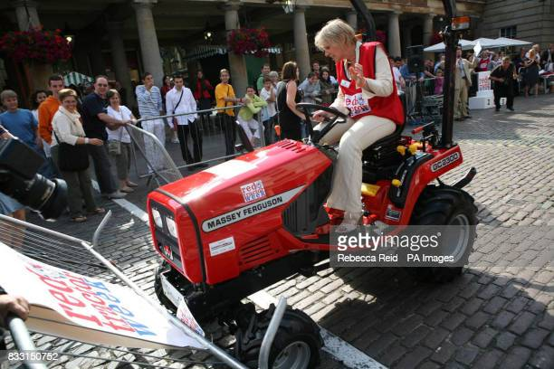 Previously unissued picture dated of Tory MP Nadine Dorries loses control of her tractor during an event to mark Red tractor week at Covent Garden...
