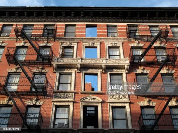 Pre-war red brick tenement in the East Village, Manhattan, New York City