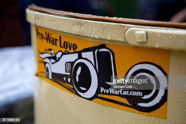 PreWarCarcom sticker on back of veteran car at The Regent Street Motor Show in London on November 4 2017 in London England
