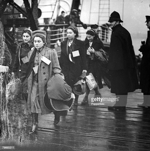 PreWorld War II 12th December 1938 502 children refugees from Vienna arrive at Harwich on the steamer The Prague to be taken by special train to...