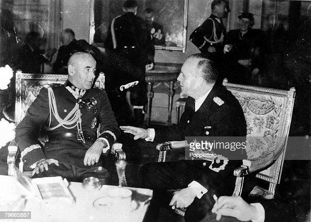 Pre-World War II, 29th January 1939, Warsaw, Poland, Herr Joachim von Ribbentrop , the German Reichsminister of Foreign Affairs, is pictured in...