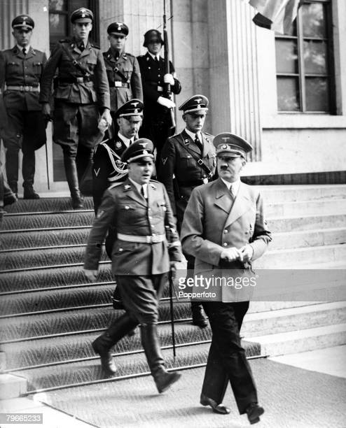 PreWorld War II 29th September 1938 Munich Germany German Chancellor and Nazi leader Adolf Hitler leaves the House of the Fuhrer under the British...