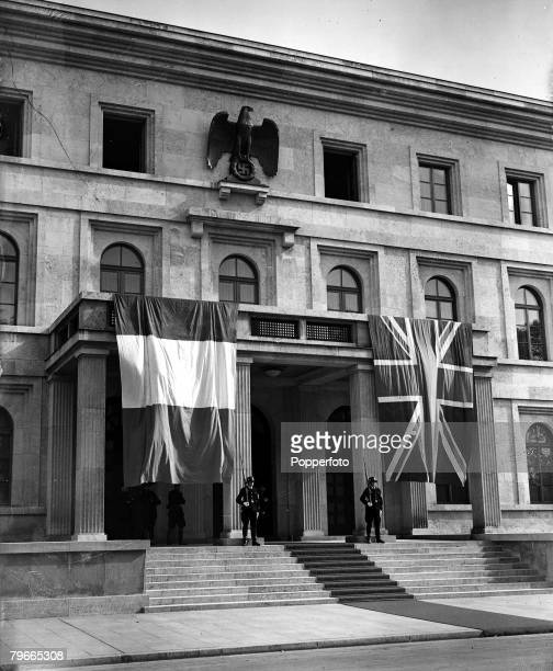 PreWorld War II 29th September 1938 Munich Germany The French tricolour and the British flag hang from the House of the Fuhrer which is guarded...