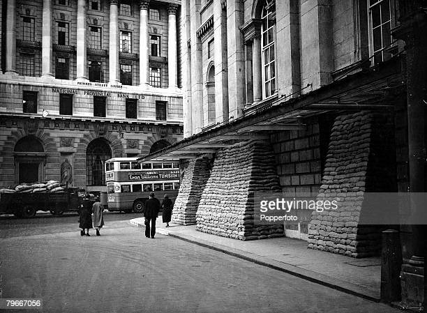 PreWorld War II 30th August Sandbags stacked outside the Mansion House The City London to help protect it from an airraid