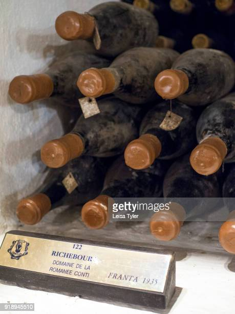 PreWorld War II bottles of 1935 vintage RomaneeConti Grand Cru wine in the wine cellars of Cricova Winery Moldovas second largest wine cellar with...