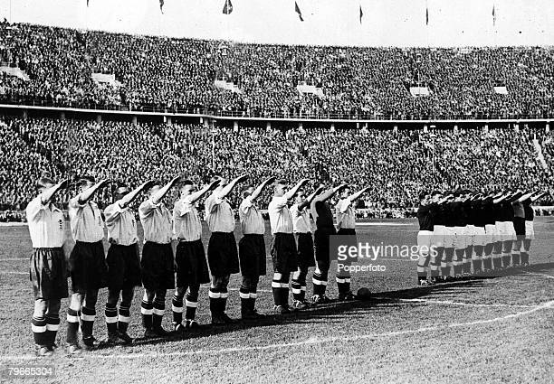 Pre-World War II, Football, 15th May 1938, Prior to their International football match in Berlin+s Olympic stadium, the England team gave the nazi...