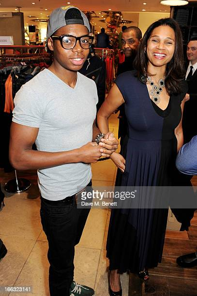 Preye Crooks and mother Funkazi Crooks attends as Jazzie B launches the Soul II Soul 'Classics' Collection at Harvey Nichols on April 11 2013 in...