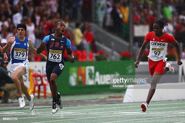 Prezel Hardy of USA wins the boy's 100m final from Aaron Brown of Canada and Giovanni Galbieri of Italy during day two of the IAAF World Youth...