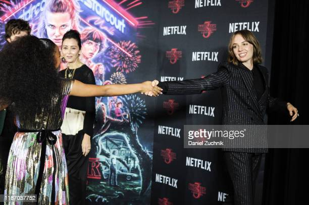 Priah Ferguson and Maya Hawke attend the New York Screening of Stranger Things Season 3 at DGA Theater on November 11 2019 in New York City