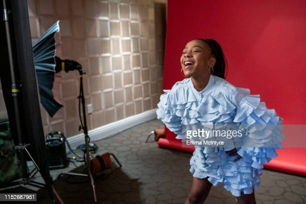 Priah Ferguson attends the Season 3 Stranger Things press junket at The London Hotel on June 27 2019 in West Hollywood California