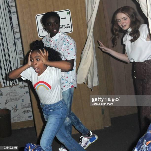 Priah Ferguson Caleb McLaughlin and Sadie Sink attend Stranger Things Maze during Halloween Horror Nights 2018 at Universal Studios Hollywood on...