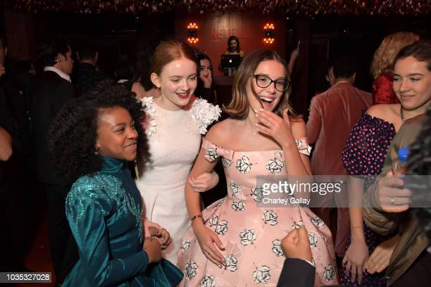Priah Ferguson, Sadie Sink and Millie Bobby Brown attend the 2018 Netflix Primetime Emmys After Party at NeueHouse Hollywood on September 17, 2018 in...