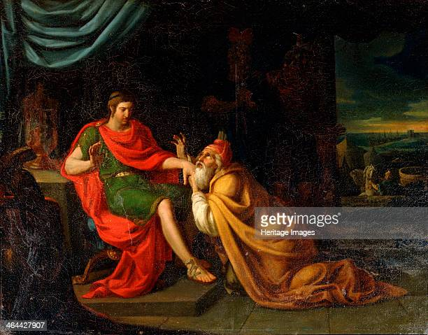 'Priam and Achilles' 17th century Priam King of Troy pleading with Achilles for the return of the body of his son Hector who Achilles killed in...