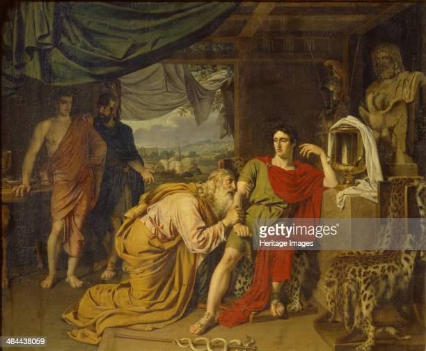 Priam tearfully supplicates Achilles begging for Hector's body 1824 Found in the collection of the State Tretyakov Gallery Moscow