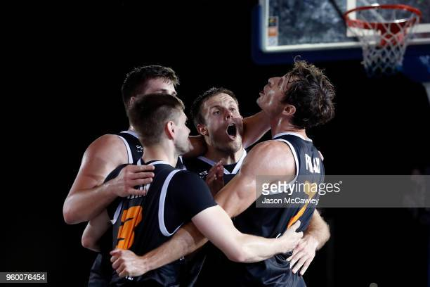 Prian celebrate winning their semi final against Amsterdam Inoxdeals during Sydney FIBA 3x3 World Challenger event hosted by the NBL held at the...