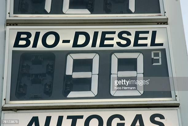 Price board at petrol station, close-up