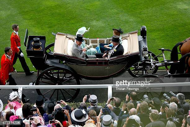 Price Charles, Prince of Wales, Camilla, Duchess of Cornwall, Princess Beatrice of York and Lord Vestey during the Roal Procession on day 1 of during...