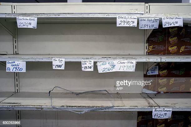 Price labels remain on empty shelves inside a looted supermarket in Ciudad Bolivar Bolivar state Venezuela on December 19 2016 A jet load of new...