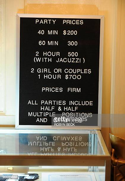 A price list is posted on a counter in the parlor at the Shady Lady Ranch brothel in Nye County Nevada about 150 miles north of Las Vegas on January...