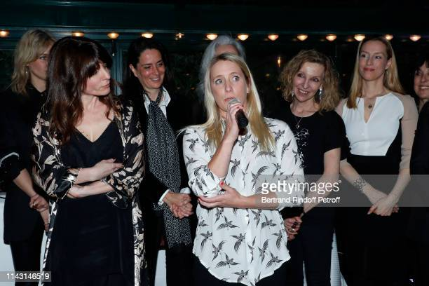 "Price of the ""Closerie des Lilas 2019"" for ""Les entenebres"", writer Sarah Chiche, a guest, Andrea Bescond, Emmanuelle de Boysson and Adelaide de..."