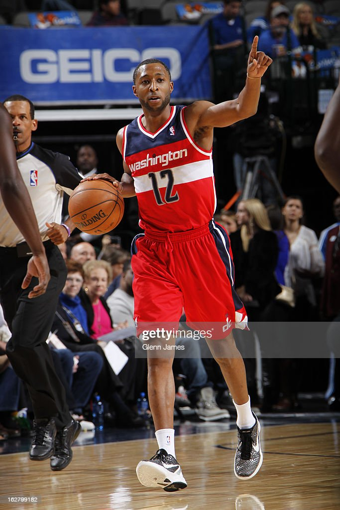 A.J. Price #12 of the Washington Wizards brings the ball up court against the Dallas Mavericks on November 14, 2012 at the American Airlines Center in Dallas, Texas.