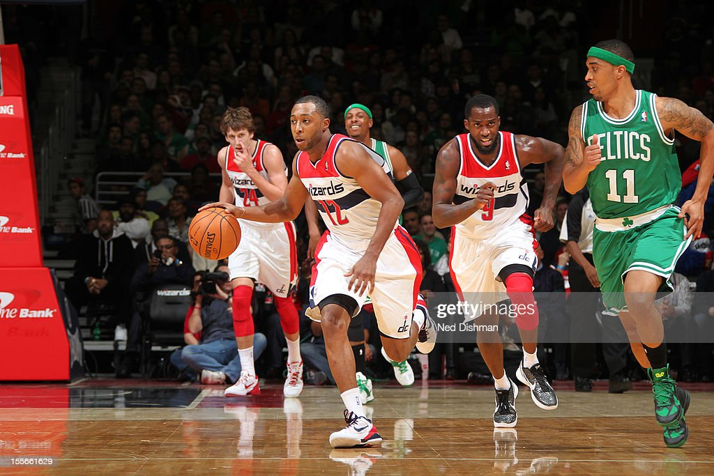 A.J. Price #12 of the Washington Wizards handles the ball against the Boston Celtics at the Verizon Center on November 3, 2012 in Washington, DC.